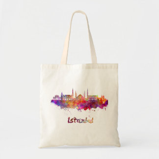 Istanbul skyline in watercolor tote bag