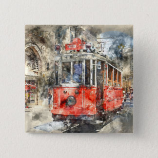Istanbul Turkey Red Trolley 15 Cm Square Badge