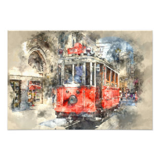 Istanbul Turkey Red Trolley Art Photo