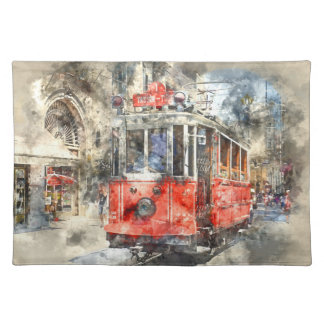 Istanbul Turkey Red Trolley Placemat
