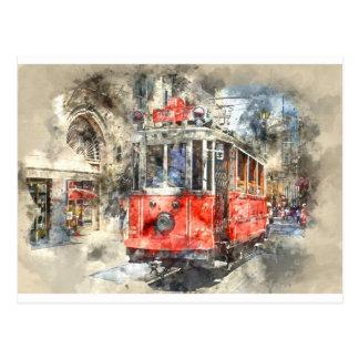 Istanbul Turkey Red Trolley Postcard