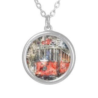 Istanbul Turkey Red Trolley Silver Plated Necklace