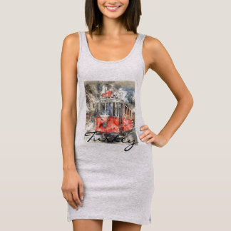 Istanbul Turkey Red Trolley Sleeveless Dress