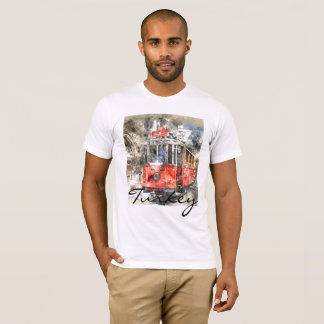 Istanbul Turkey Red Trolley Watercolor T-Shirt