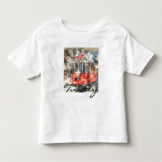 Istanbul Turkey Red Trolley Watercolor Toddler T-Shirt