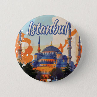 Istanbul Vintage Travel Poster 6 Cm Round Badge
