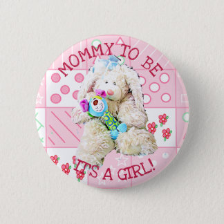 IT A GIRL, MOMMY TO BE BABY SHOWER BUTTON BUNNY