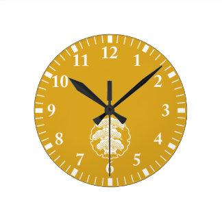 It appears in the snow wheel, three floor pine round clock