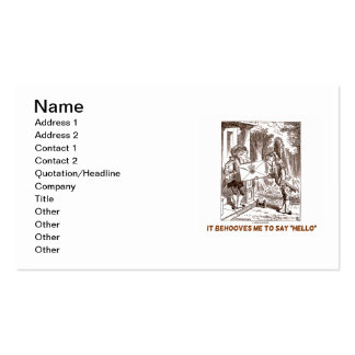 It Behooves Me To Say Hello Frogman Fishman Humor Double-Sided Standard Business Cards (Pack Of 100)