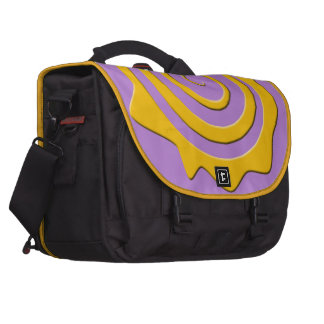 It cheers yellow sun in spiral on violet bottom laptop messenger bag
