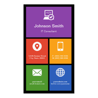 IT Consultant - Colorful Tiles Creative Business Card Template