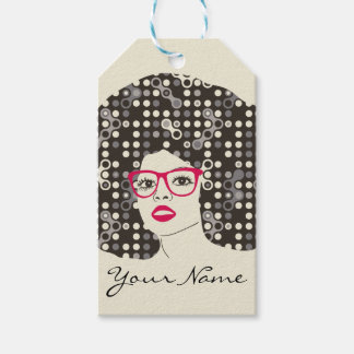 IT girl with sensual red lips and techie afro Gift Tags