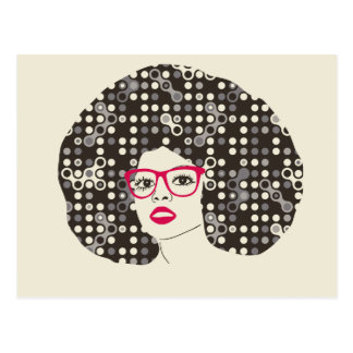 IT girl with sensual red lips and techie afro Postcard