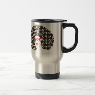 IT girl with sensual red lips and techie afro Travel Mug
