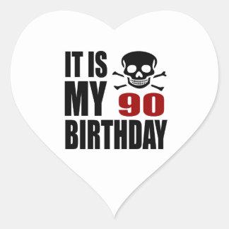 It Is My 90 Birthday Designs Heart Sticker