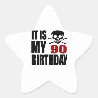 It Is My 90 Birthday Designs Star Sticker