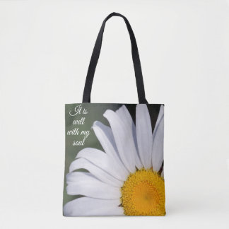 It is Well With My Soul Offset Daisy Tote Bag