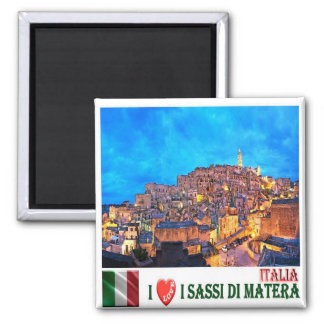 IT - Italy - The Sassi of Matera - I Love Square Magnet
