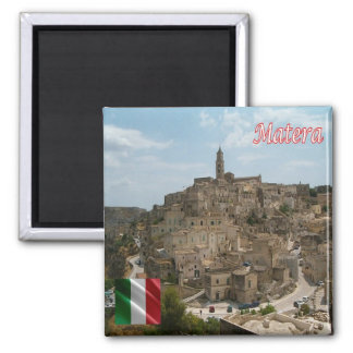 IT - Italy - The Sassi of Matera Square Magnet