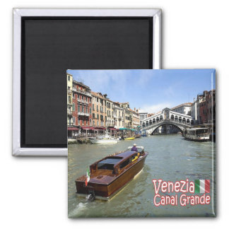 IT - Italy - Venice - Grand Canal - Rialto Bridge Square Magnet