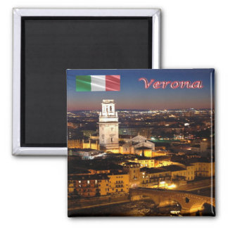 IT-Italy-Verona-Cathedral & Stone Bridge At Night Square Magnet