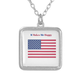 It Makes Me happy- American flag Silver Plated Necklace