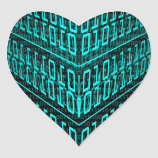 IT programmer high tech computer binary code Heart Sticker