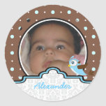 It's a boy baby birth polkadot photo announcement round sticker