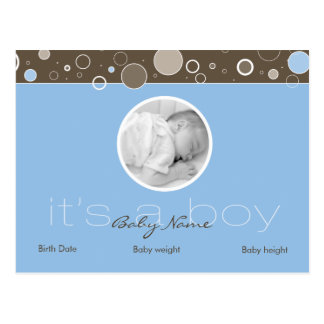 It s a Boy - Blue Postcard Dots - Add YOUR picture