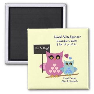 It s A Boy Owl Birth Magnet
