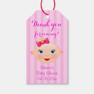 It´s a Girl Baby Face Pink Baby Shower Gift Tag