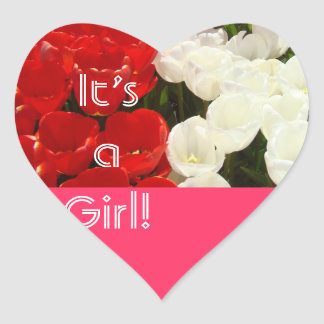 It s a Girl stickers Heart Pink Red White Tulips