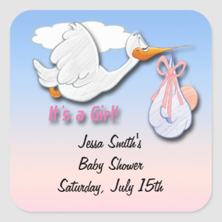 It s a Girl Stork Baby Shower Favor stickers