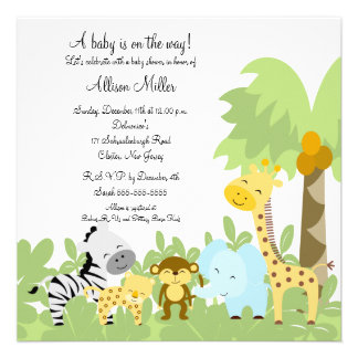 It s A Jungle Baby Animails Baby Shower Invitation