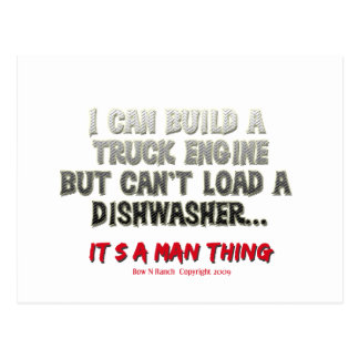 It s a man thing Engine vs Dishwasher Post Cards