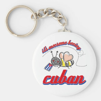 It's awesome being Cuban Basic Round Button Key Ring