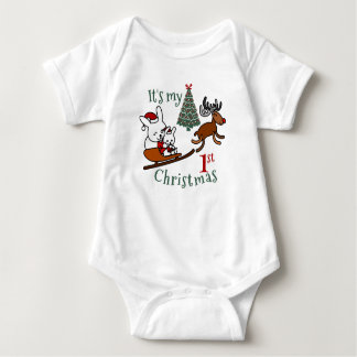 It's My First Christmas Santa Mouse Baby Bodysuit