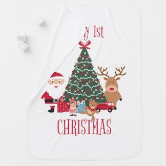 It's my first Christmas Tree Santa and Reindeer Baby Blanket