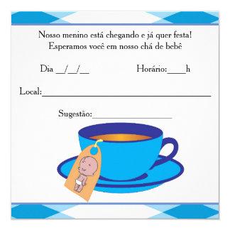 It ` s the Boy Baby Shower - Tea of Baby Boy 13 Cm X 13 Cm Square Invitation Card