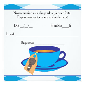 It ` s the Boy Baby Shower - Tea of Baby Boy 13 Cm X 13 Cm Square Invitation Card