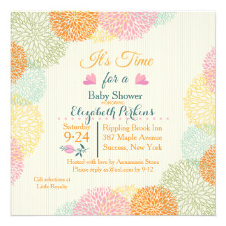 It s Time Floral Baby Shower Invitation