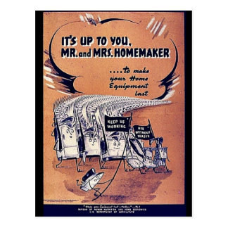 It s Up To You Mr And Mrs Homemaker Postcards