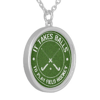 It Takes Balls To Play Field Hockey Silver Plated Necklace