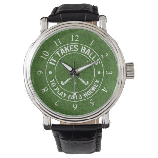 It Takes Balls To Play Field Hockey Wristwatches