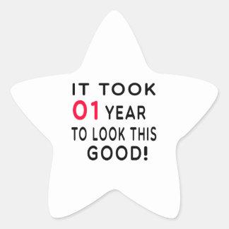 It Took 01 Years Birthday Designs Star Sticker