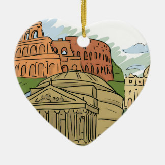 It Wasn't Built In A Day (Rome) Ceramic Heart Decoration