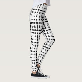Itajime Shibori Black Check Plaid Geometric Weave Leggings