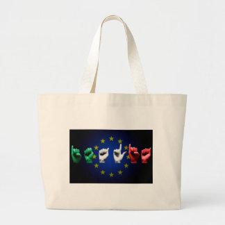 italia europe black large tote bag