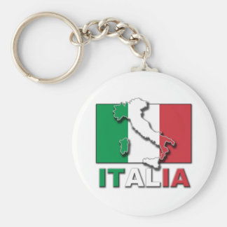 Italia Flag Land Basic Round Button Key Ring