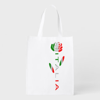 Italia Flag Rose Reusable Grocery Bag